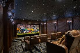 Home Theater Ceiling Lighting Traditional Home Theater With Carpet Interior Wallpaper In