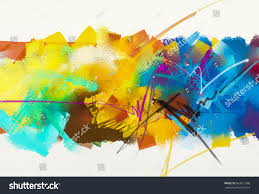 Contemporary Colors Abstract Colorful Oil Painting On Canvas Stock Illustration