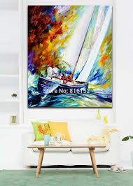 2017 people in sailing boat sightseeing palette knife oil painting