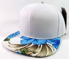 blank hawaiian floral snapback hats wholesale white blue