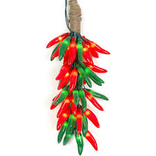 and green chili pepper light ristras 16 cluster set
