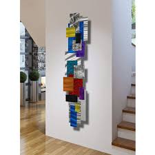 large contemporary geometric metal wall decor multi color