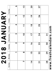 free blank printable january 2018 calendar template online