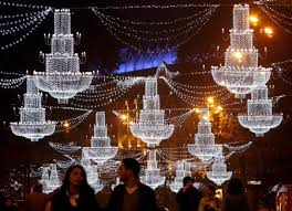 christmas decorations illuminate night sky lifestyle news sina