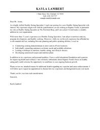 cover letter help best education food specialist cover letter exles livecareer
