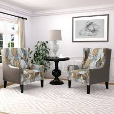Teal Accent Chair Rosario 2 Pack Wingback Fabric Accent Chairs Teal U0026 Brown