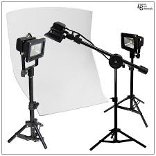 camera copy stand with lights led flood light tabletop product photography lighting kit with white