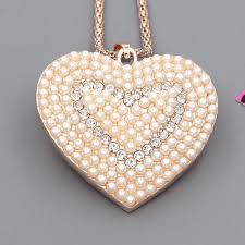 long love heart necklace images Betsey johnson love heart inlaid crystal pearl pendant charm long jpg