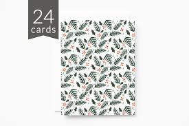 bulk christmas cards christmas card set of 24 illustrated botanical pattern bulk