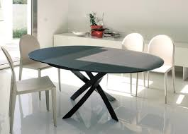 danish modern expandable dining table round glass extendable