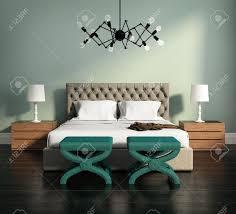 Schlafzimmer Luxus Design Moderne Elegante Grüne Luxus Schlafzimmer Mit Hocker Und Lederbett