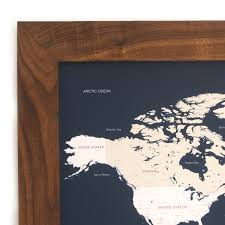 Framed Maps Of The United States by Push Pin World Map Walnut Frame Navy 100 Pins White