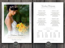 wedding photographer prices wedding photographer price guide card template wedding