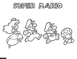 mario bros mario luigi mushroom and princess coloring page