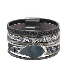 leather women bracelet images Bfiyi leather bracelet women agate cuff bangle jpg