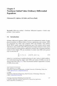 Sample Sap Basis Resume by Nonlinear Initial Value Ordinary Differential Equations Springer