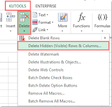 how to delete empty columns with header in excel