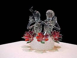 custom hand blown glass skeletons wedding cake top six