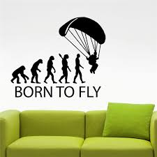 Sports Decorations Born To Fly Skydive Parachuting Sticker Home Interior Design