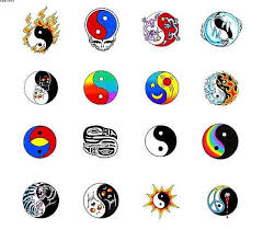 amazing colorful yin yang tattoo flash