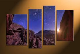 4 piece brown landscape stars group canvas