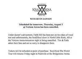 Verizon Resume Faith Hill Placed On Vocal Rest Cancels Concert Radio Com