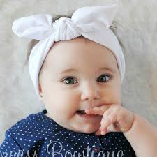 baby headwrap wide white bunny ear baby wrap