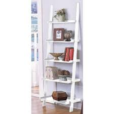 amazon com white 5 tier leaning ladder book shelf by
