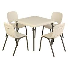 Folding Childrens Table And Chairs Lifetime Table With 4 Almond Chairs
