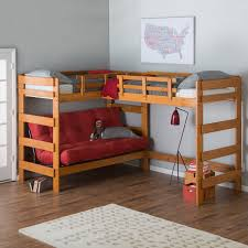 How To Make A Loft Bed With Desk Underneath by Woodcrest Heartland L Shaped Loft Bunk Bed With Extra Loft Bed