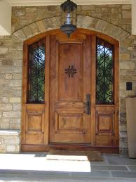 exterior modern contemporary front door design with single brown