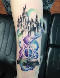 Tattoo Backgrounds Ideas Harry Potter Watercolor Tattoo Hogwarts Tattoo Right Of