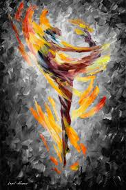 dance of love u2014 palette knife mixed color and black and white oil