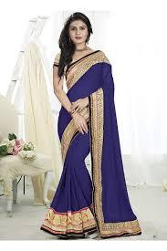 Buy Violet Embroidered Art Silk Art Silk Reception Wear Neavy Blue Heavy Embroidery Work Gown