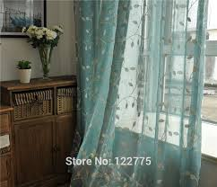 Sheer Teal Curtains Country Embroidered Leaves Blue Sheer Curtain In Curtains