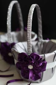wedding baskets gray and plum wedding flower girl baskets egg plant and gray