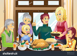thanksgiving animated emoticons vector illustration family having thanksgiving dinner stock vector