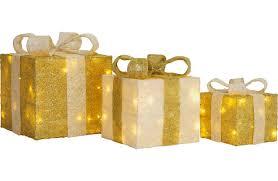 set of 3 light up gift boxes gold 2463470 argos