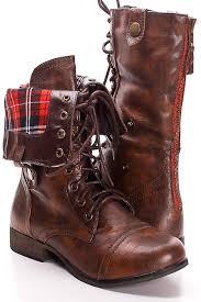 sweater lined foldover combat boots solid brown faux leather lace up fold combat boots s