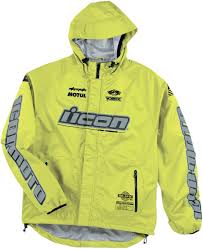 motorcycle rain jacket icon pdx rain jacket hi viz yellow