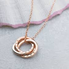 Gold Plated Necklace With Name Personalised Russian Ring Necklace By Posh Totty Designs