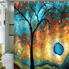 Artistic Shower Curtains Artistic Shower Curtain Colors Are Blues Greens Browns Tree