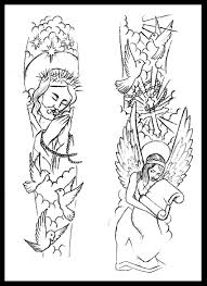 religious sleeve tattoo design by thirteen7s on deviantart