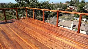 redwood deck with cable rail 5 san diego decks custom deck