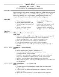 server resume objective victoria reed summary restaurant server