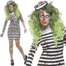 Womens Prisoner Halloween Costume Halloween Ladies Zombie Jail Bird Convict Fancy Dress Costume