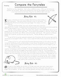 compare the fairy tales comprehension worksheets worksheets and