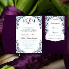 peacock wedding invitations peacock wedding invitations kaitlyn purple teal pocket card
