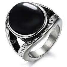 black steel rings images Women 39 s vintage large oval emerald titanium stainless steel ring jpg