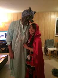 halloween couple little red riding hood and the big bad wolf